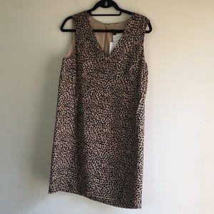 Ann Taylor tan & black animal print shift dress M